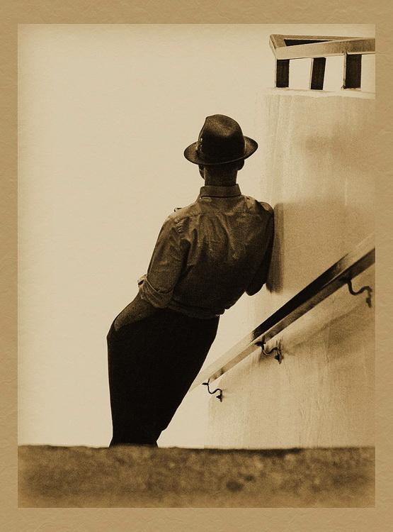 шляпа, человек, ожидание