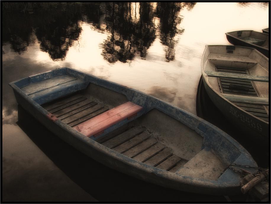 лодки, пристань, отражение, вечер