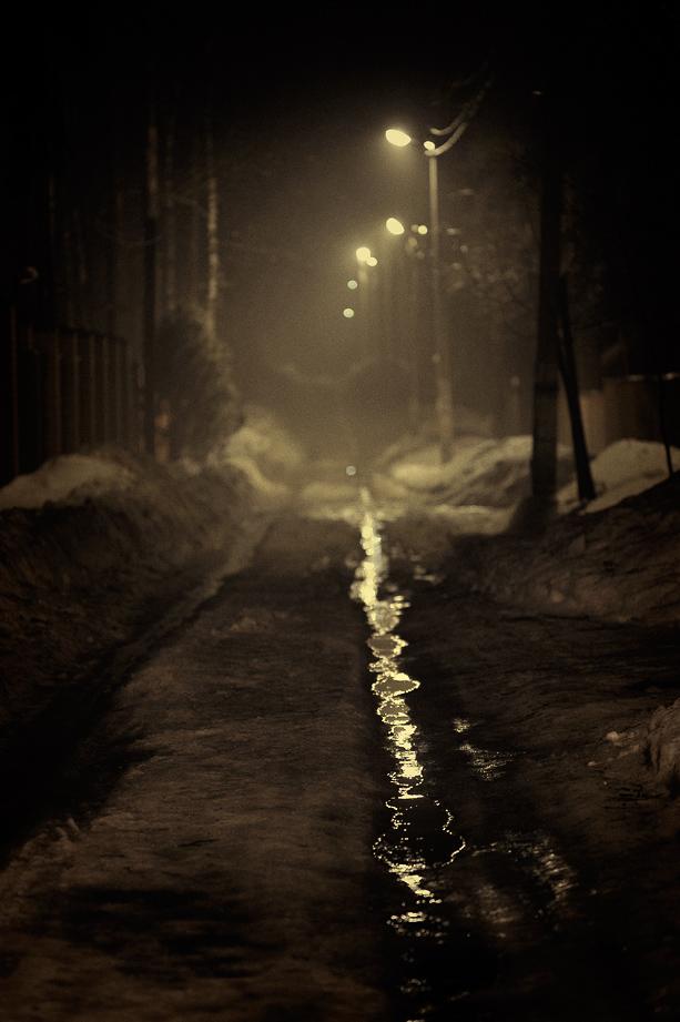 Ночь, улица, фонарь, лужа, Малаховка 2010