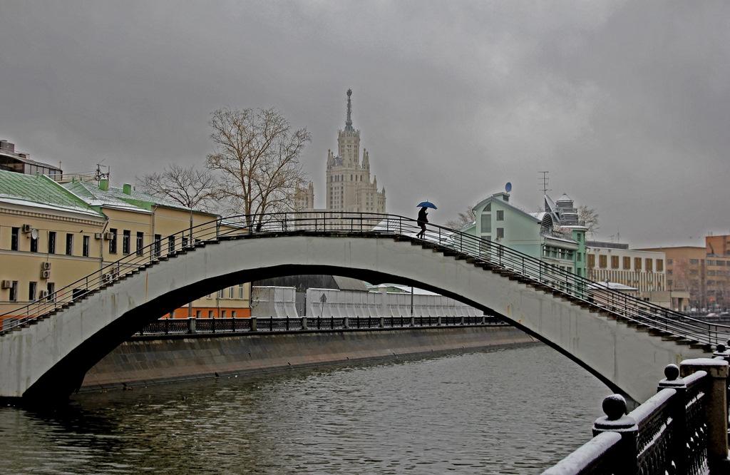 Набережная Обводного канала, горбатый мостик, девушка с зонтиком, московская высотка