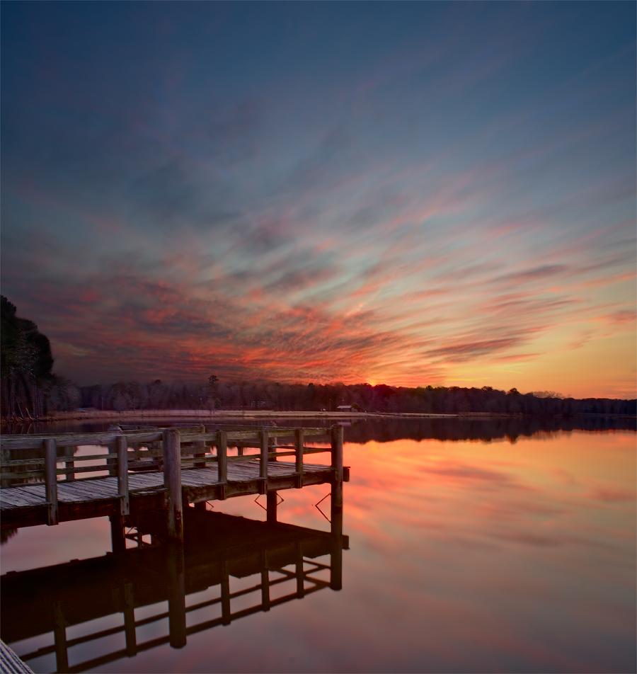 - закат - озеро - вечер - мостик -
