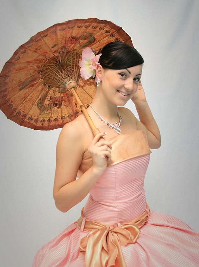 портрет,девушка,зонтик