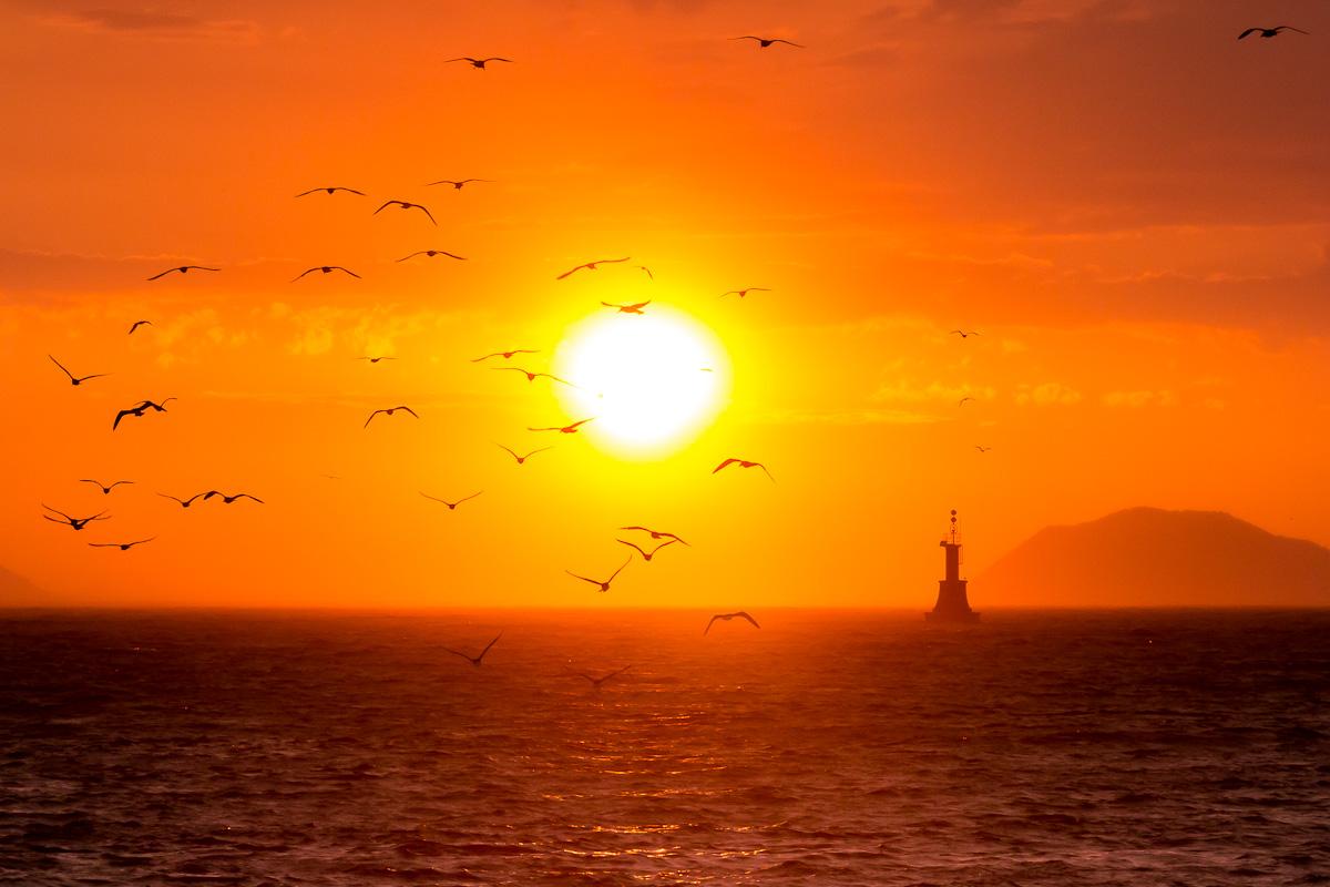 Люблю смотреть я на морской закатКак будто солнце спать уходит в мореИ чайки хороводом здесь кружатОни ведь все находятся в дозореВот  вечер землю покрывалом накрываетПрирода вся готовится ко сну и ждетВдали на горизонте море небу уступаетИ солнышко  к себе в объятия  зовет(с) Т.Халявкина