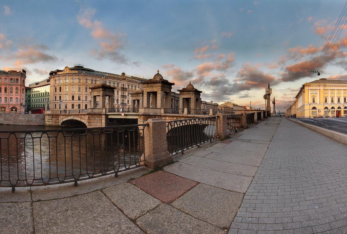 Петербург река Фонтанка мост Ломоносова рассвет