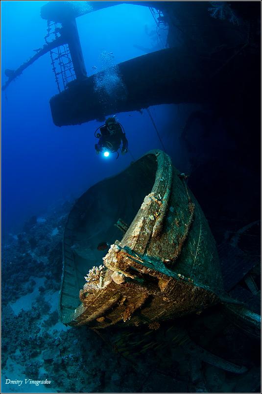 Красное море. Египет. Сафага. Глубина 30 метров. Шлюпка с погибшего парома Salem Express.