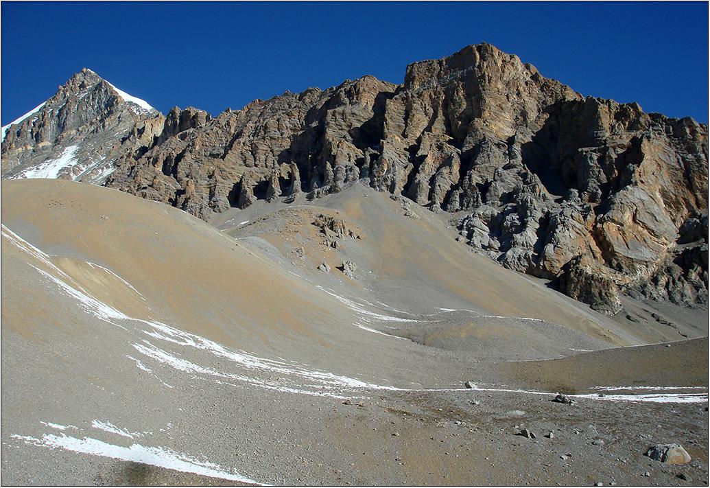Граница Непала и китайского Тибета, неприветливый край. Высота около 4 тыс. метров, ни кустика, ни следов зверей на земле, ни птиц  в темносинем, почти черном небе. Полное безлюдье- такое впечатление, что ты находишься на другой планете.