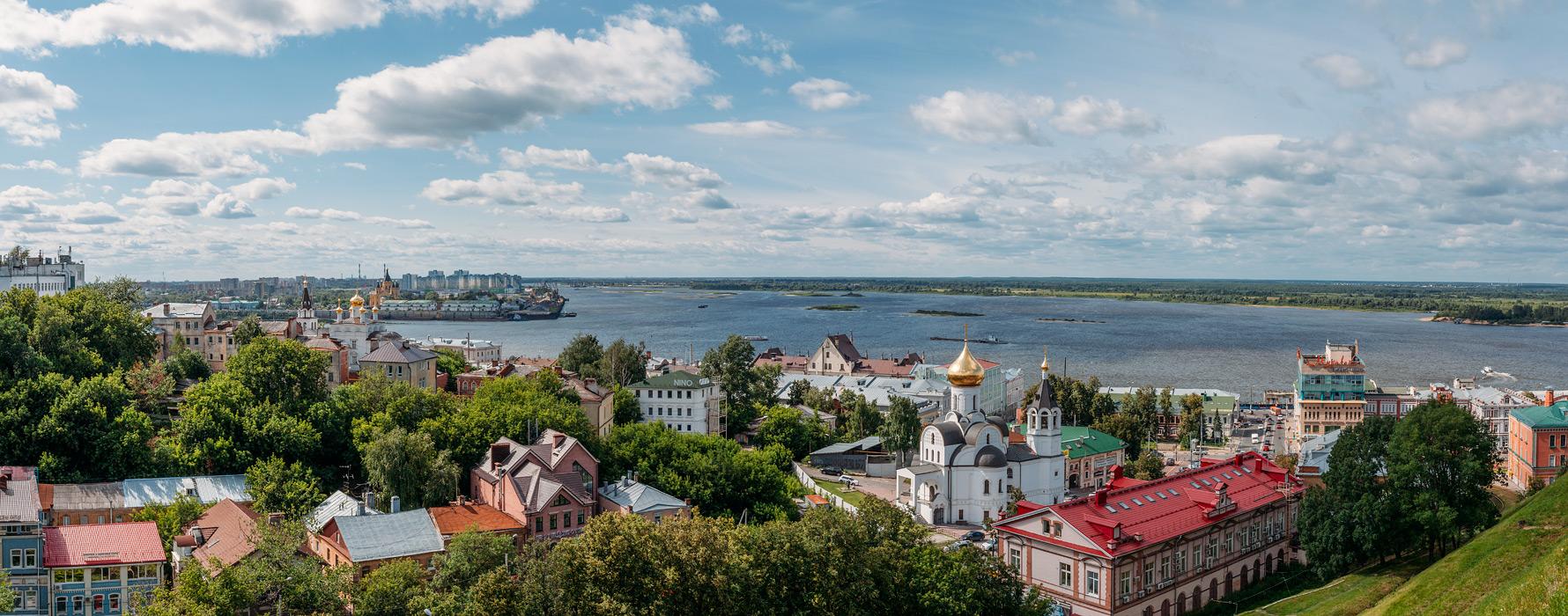 Вид от нижегородского кремля,стрелка Оки и Волги.