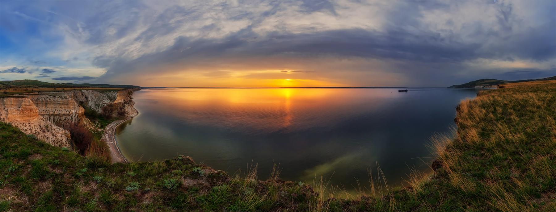 Саратовская область. Рассвет. Панорама 180 гр.