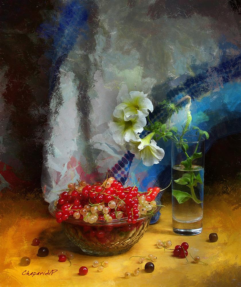 chaparin.v.p., июль, лето, натюрморт, смородина, цветы, ягоды