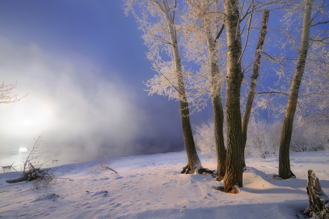 Морозный туман на Волге.