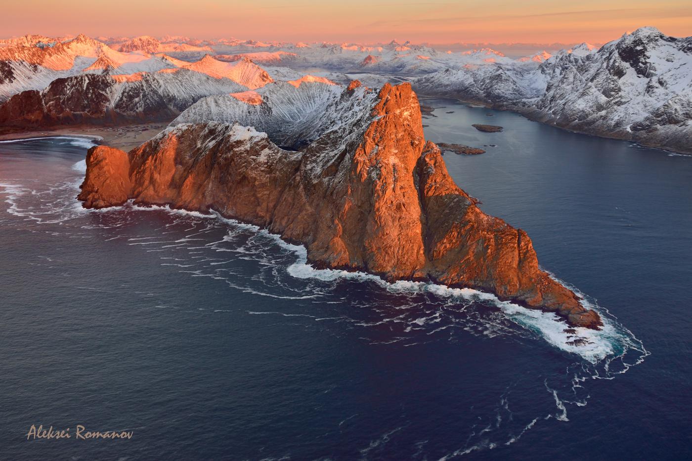 Норвегия, Лофотенские острова, природа, горы, закат, путешествия