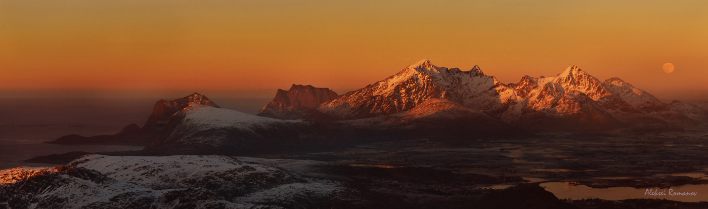 Вторая попытка)))Путешествия, природа, горы, закат, Норвегия, Лофотенские острова