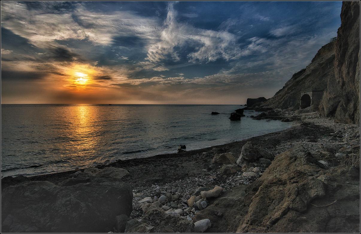 Крым, вечер, закат солнца, море