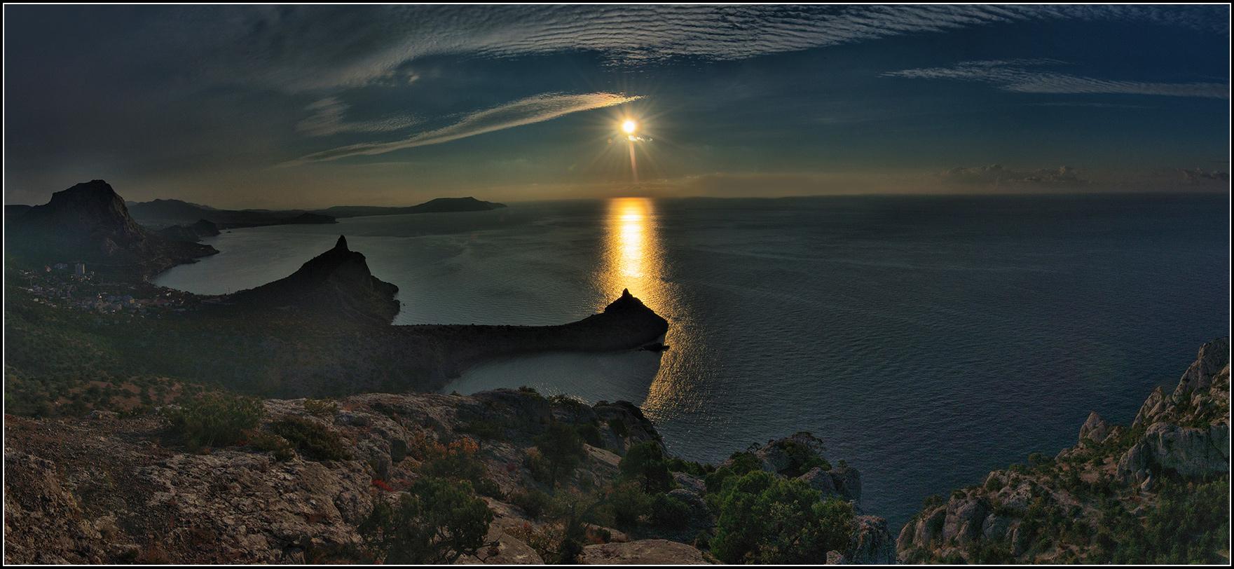 Крым, Новый свет, Утро, рассвет, море, солнце, панорама