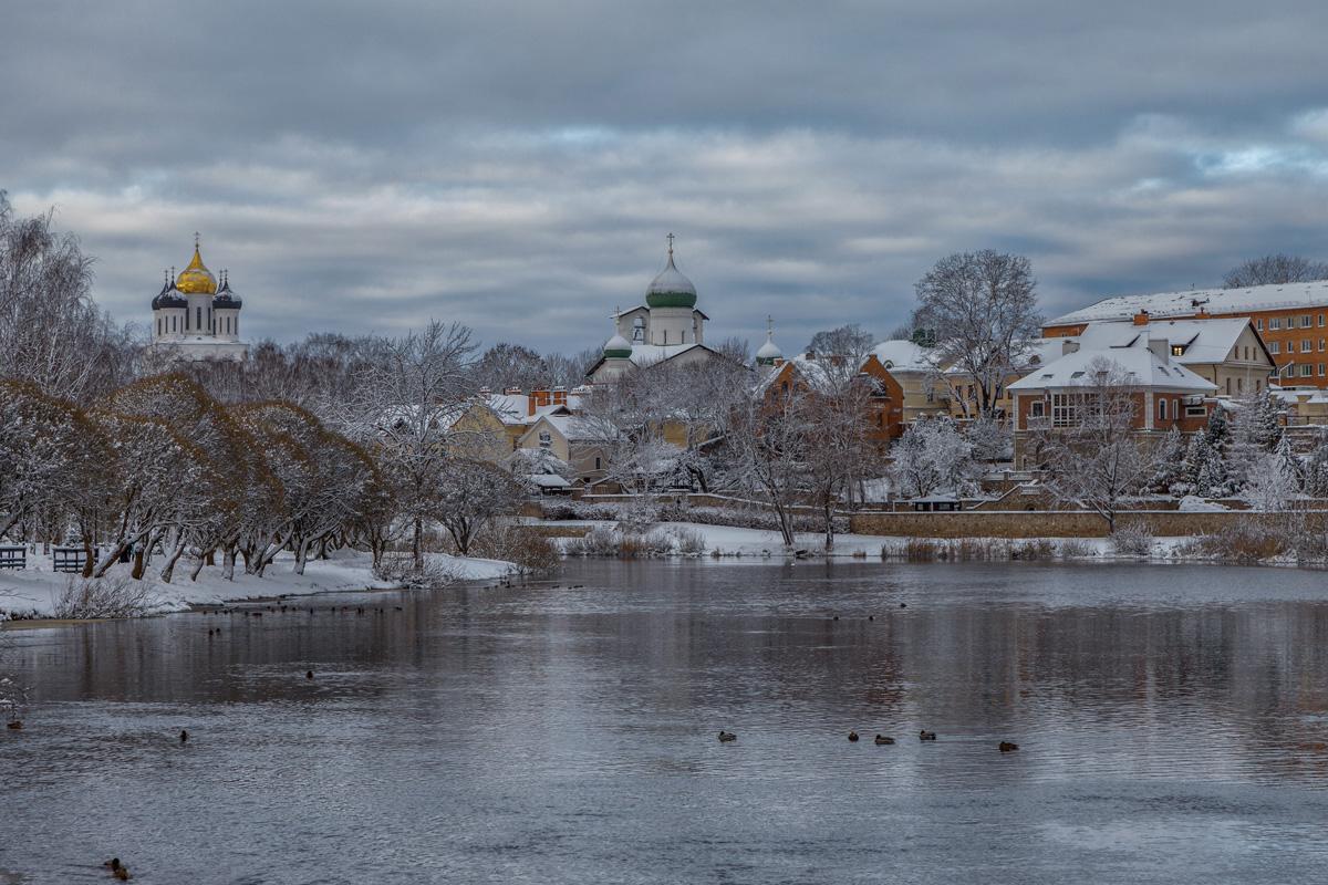 зима, небо, природа, река