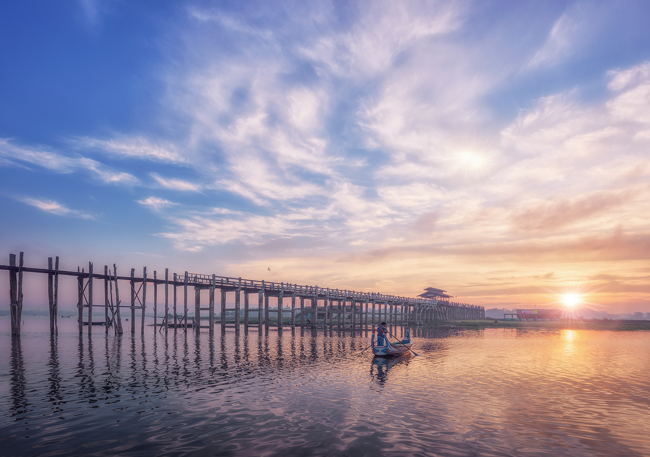 Тиковый мост У Бейн, Мандалай, Бирма.путешествие,Бирма,УБейн,Мандалай,пейзаж,рассвет,