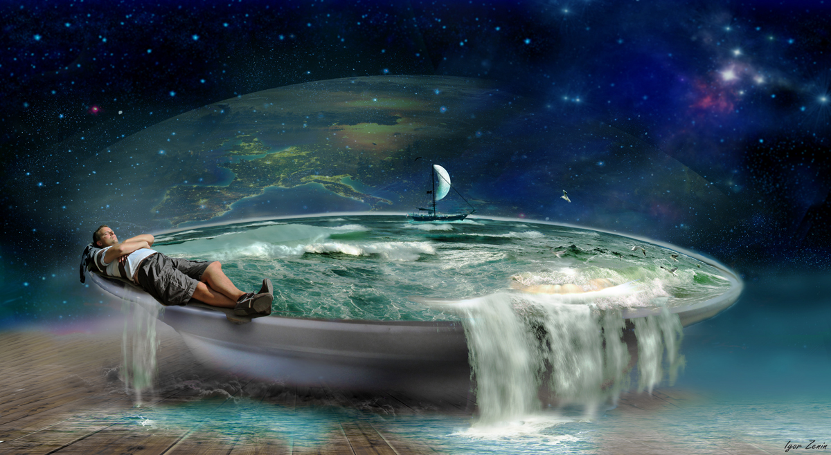 Сны,тарелка,море,космос,парень,мечты