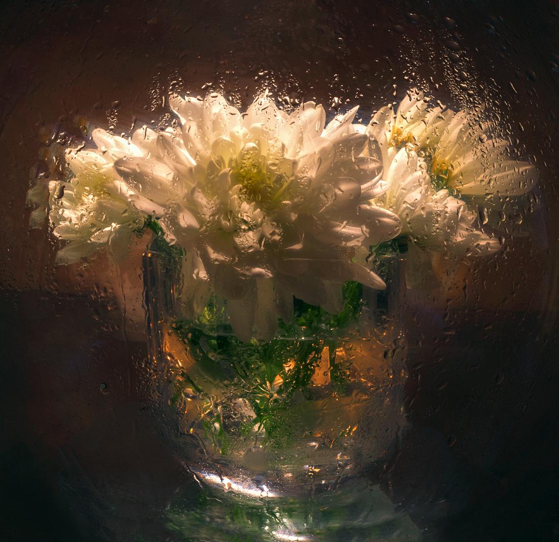 Съемка через мокрое стекло, световая кисть и свеча