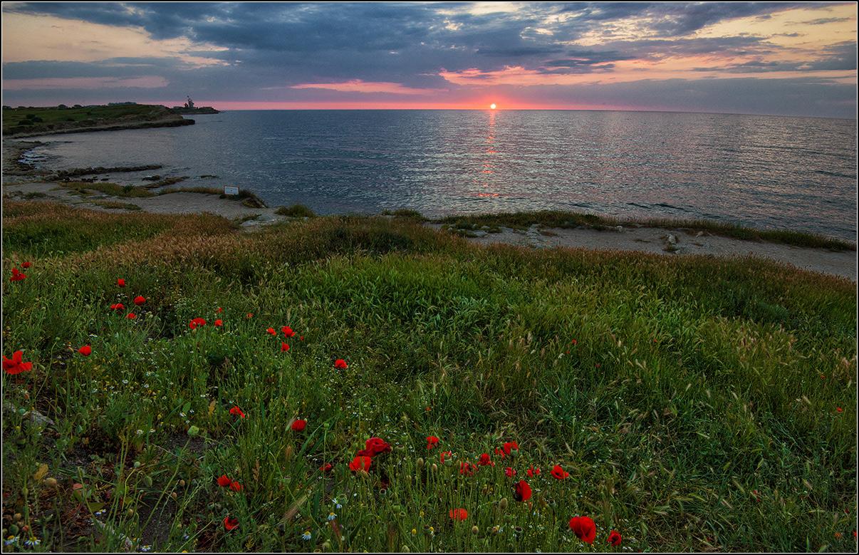 Крым, Херсонес, вечер, море, солнце