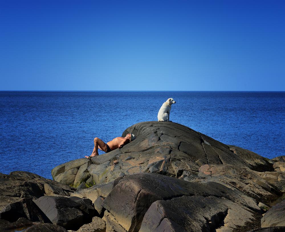 Отдыхающие на острове Луда. Белое море.
