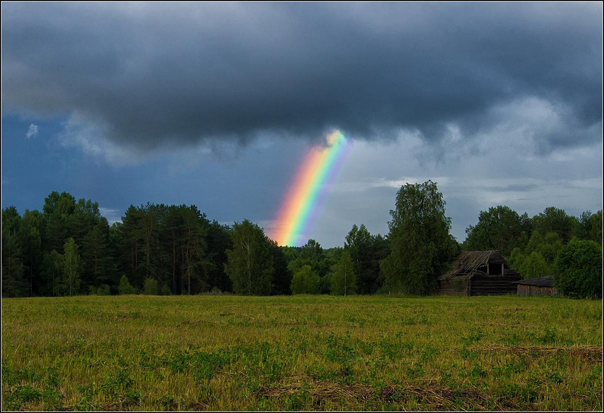 Нижегородская область, радуга, облака, поле