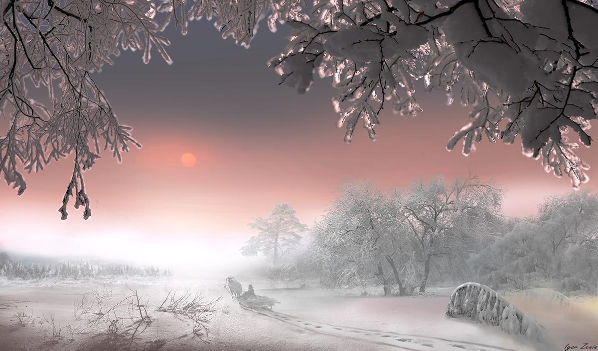 Январь,деревня,снег,сани