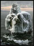 """Байкал в декабре. Знаменитая """"Черепашка"""" -это большой скальный камень по форме очень напоминающий черепаху (особенно в профиль), выползающую на берег. На этой скале чудом выросла березка и ни шторма, ни лед не могут ее сломать."""