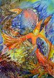 Автор этой картины - художница-инвалид Юлия Зисман. Выполнение картины - свободная роспись по шелку. Посетила ее выставку, была потрясена ее работами, попросила разрешения сфотографировать, хочу поделиться впечатлением...