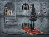 Фотошоп, коллаж, дорисовкаСюжет немного изменён специальнозамок карты дама король валет розы Алиса гриб вода кисточка краска