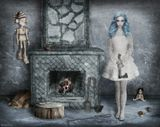 Фотошоп, коллаж, дорисовкаМальвина Буратино дрова камин огонь полено кукла луковица цепь гвозди топор мышь орех