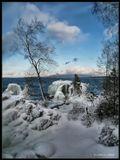 """Декабрь месяц на берегу Байкала.Застывает полностью он только в январе, а пока наряжает деревья, прибрежные кусты и камни ледяными """"панцырями""""..."""