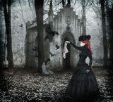 Фотошоп, коллаж, дорисовкаЧёрная душа девушки сёстры вороны платок кровь лес часовня зима