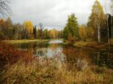 Питер, осень, озеро, пейзаж, отражение