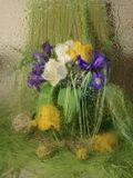весна дождь тюльпаны ирисы настроение зелёный желтый белый синий