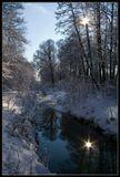 Липецк, Нижний парк, зима, утро, снег, отражения, солнце