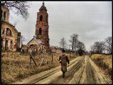 Церковь, осень, путник, дорога