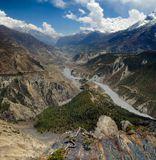 Непал, Гималаи, посёлок Мананг. Трёхъярусная панорама.