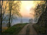 Весенний утренник (заморозок) на старой, заброшенной дороге. На ЗП видны отроги хребта Улан-Бургасы и река Селенга. Бурятия. Апрель месяц. Местность Мандрик.