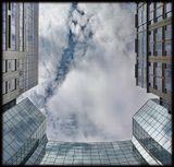 город, улица, небо, облака, тень, отражение