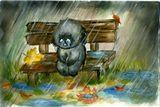 дождик льет,и он один, знать хозяин позабыл. глазки словно бусинки, жалко очень Тусика.   (С) Нестеров В.В.