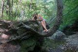 девушка, ручей, дерево.