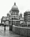 Петербург. Исаакиевский собор. Синий мост. Осень. Дождь.