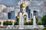 поклонная гора, солнце, церковь, москва сити, архитектура, фонтаны