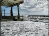 море, шторм, пирс, волна, лучи, стихия