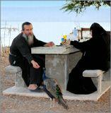 Снимок сделан рядом с Монастырем 12 Апостолов, расположенном на Святой Земле, на берегу Генисаретского моря (оз.Кинерет), вблизи древнего Кфар Нахума -  места, где Иисус, бежавший из Назарета, нашел своих учеников. Монах, который кормит семечками павлина (их на территории монастыря множество!), к моему удивлению, заговорил со мной на чистом русском языке.
