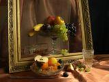 фрукты, композиция, натюрморт, вино, бокал, виноград, хурма, осень, вечер