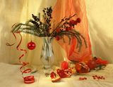 новый год, натюрморт, композиция, гранат, елка, украшения