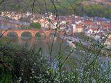 Вид на р. Неккар и старый шестиарочный мост 1788 года с Тропы Философов - горного маршрута над Гейдельбергом (Германия), открывающего виды на долину и город.
