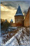 Смоленская крепостная стена.Построена 1596-1602 год.