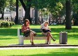 лето, чтение, парк, девушки